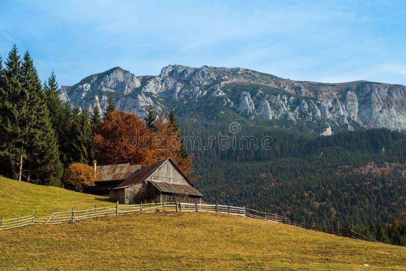 Кабина в прикарпатских горах, осень горы в Румынии стоковые фото