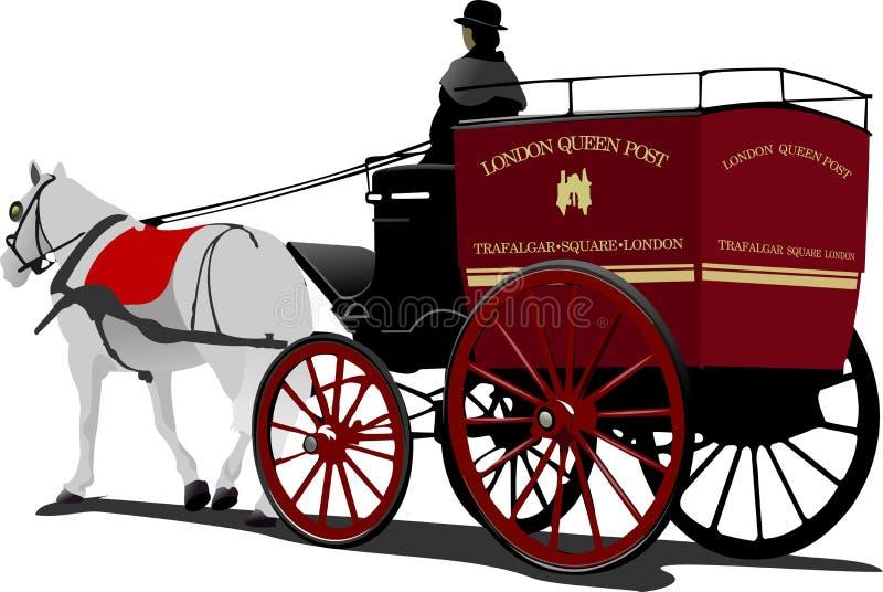 Кабина лошади столба Лондона с изолированным водителем иллюстрация вектора