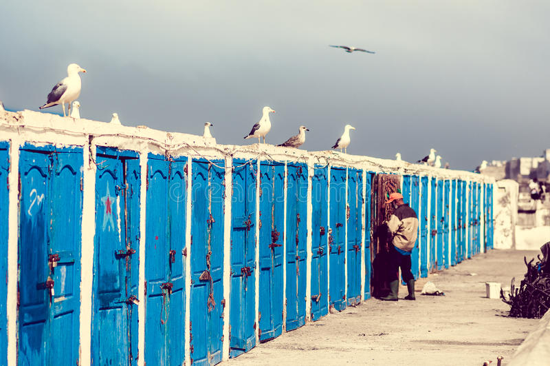 Кабины рыболовов на порте Essauira стоковые изображения rf
