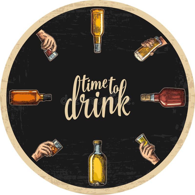 Каботажное судно для спирта выпивает с бутылкой и рукой держа стеклянными с пивом, вискиом, текила, ромом иллюстрация штока