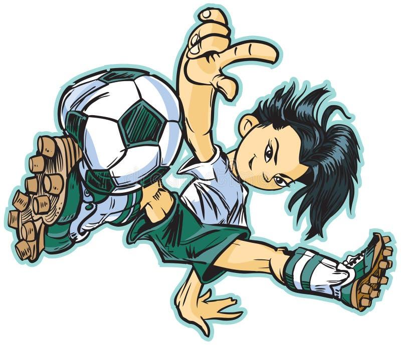Кавказская девушка футбола танцев пролома иллюстрация штока