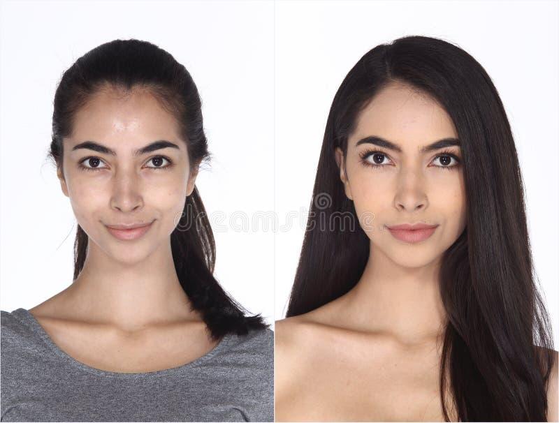 Кавказская женщина раньше после составляет волосы делает никакой заретушируйте, свежий стоковая фотография rf