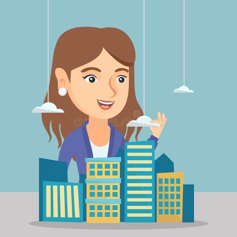 Кавказский администраторов по сбыту представляя модель города иллюстрация штока