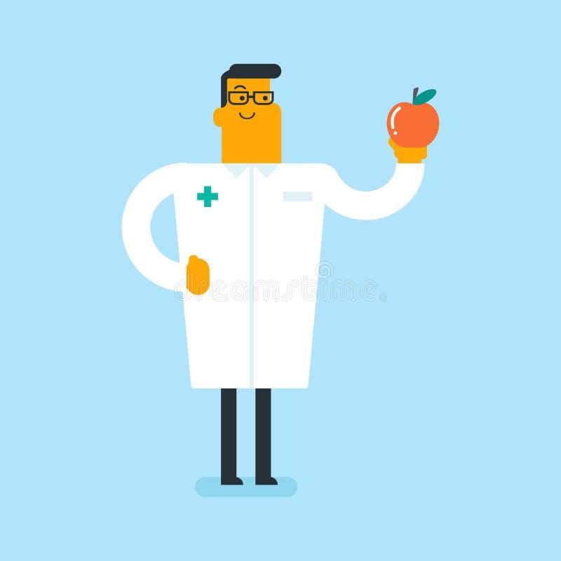 Кавказский белый диетврач предлагая здоровое яблоко бесплатная иллюстрация