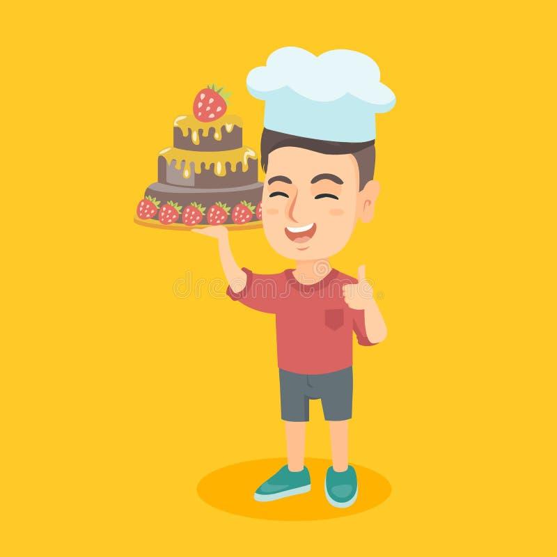 Кавказский ребенок в шляпе шеф-повара держа торт иллюстрация вектора