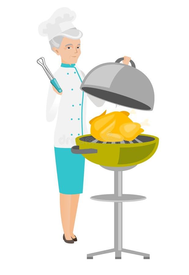 Кавказский шеф-повар варя цыпленка на гриле барбекю иллюстрация вектора