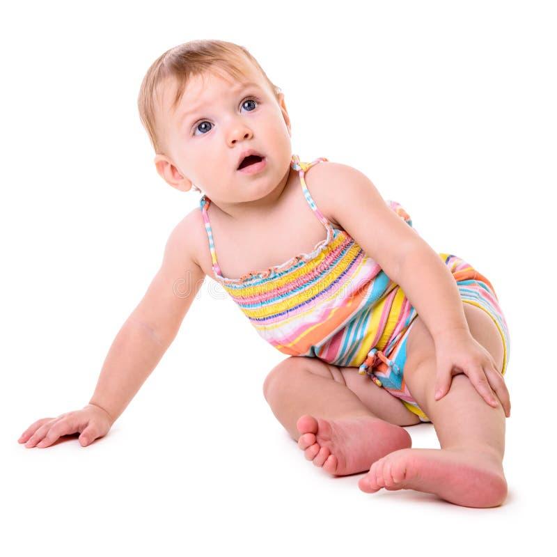 Кавказское усаживание младенца стоковое фото rf