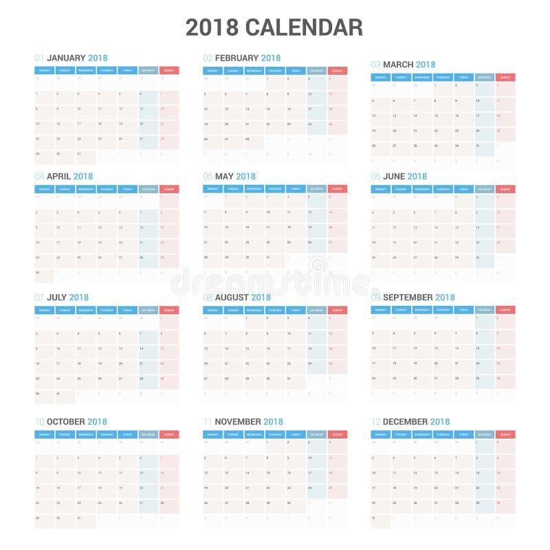 Каждогодный шаблон плановика календаря стены на 2018 год Шаблон печати дизайна вектора иллюстрация вектора