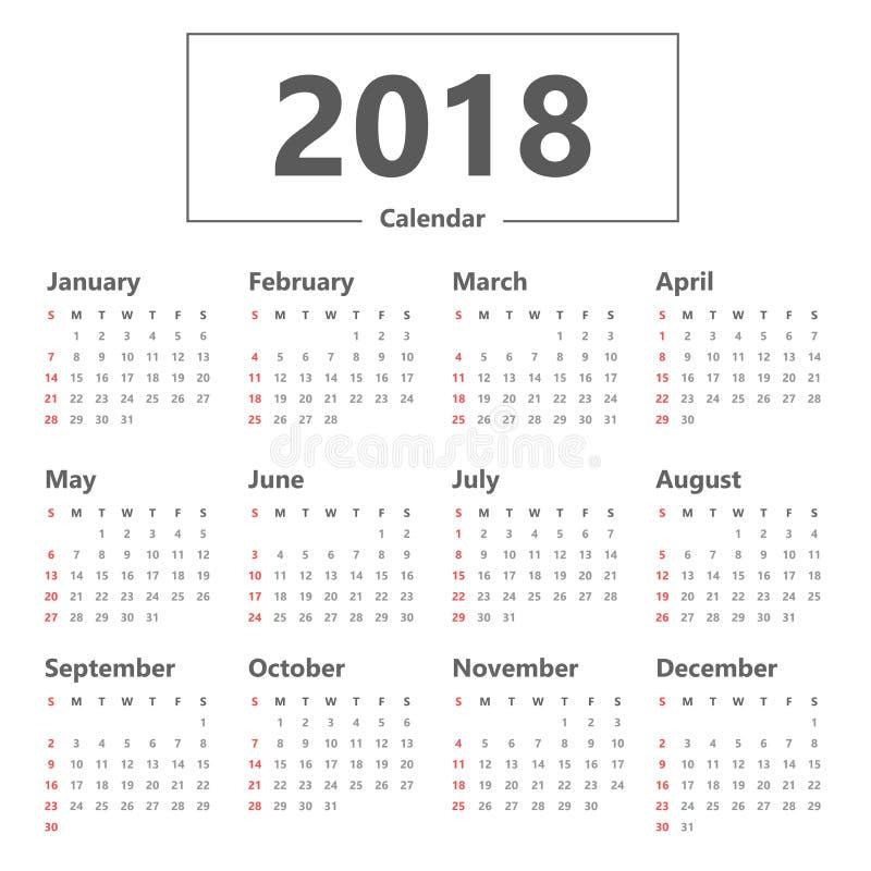 Каждогодный шаблон плановика календаря стены на 2018 иллюстрация штока
