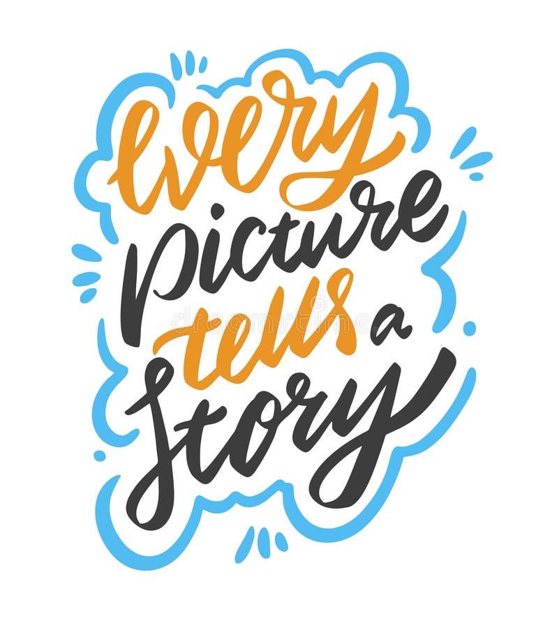 Каждое изображение говорит фразу рассказа r r Современная щетка бесплатная иллюстрация