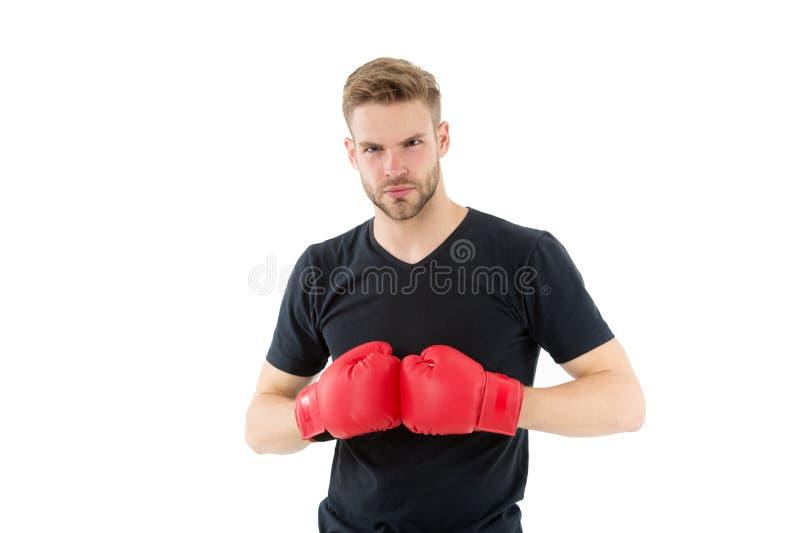 Каждый день как схватка Боксер спортсмена с перчатками Концепция бокса Сторона спортсмена человека сконцентрированная боксером с  стоковое изображение