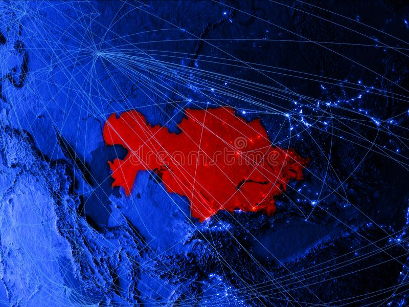 Казахстан на голубой цифровой карте с сетями Концепция международного перемещения, сообщения и технологии иллюстрация 3d иллюстрация вектора