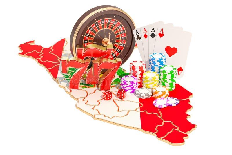Казино и играя в азартные игры индустрия в концепции Перу, переводе 3D иллюстрация штока