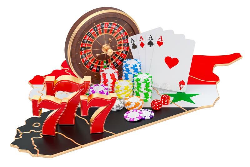 Казино и играя в азартные игры индустрия в концепции Сирии, переводе 3D иллюстрация штока