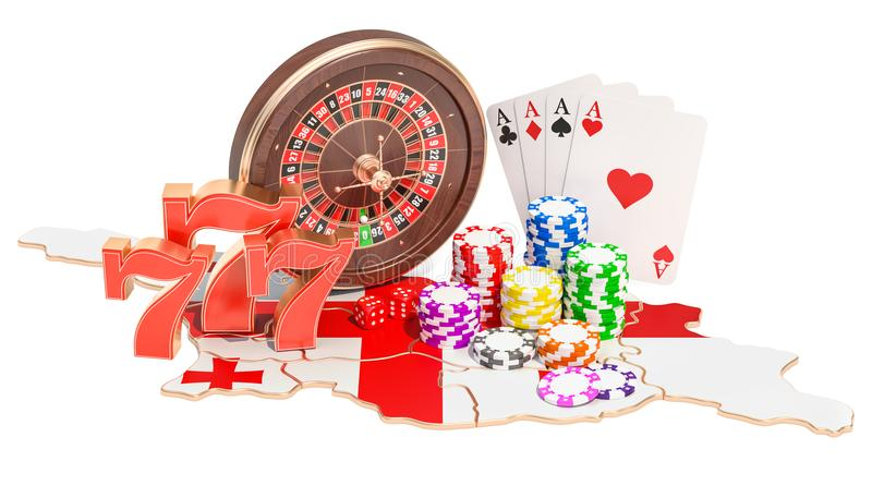 Казино и играя в азартные игры индустрия в концепции Georgia, переводе 3D бесплатная иллюстрация