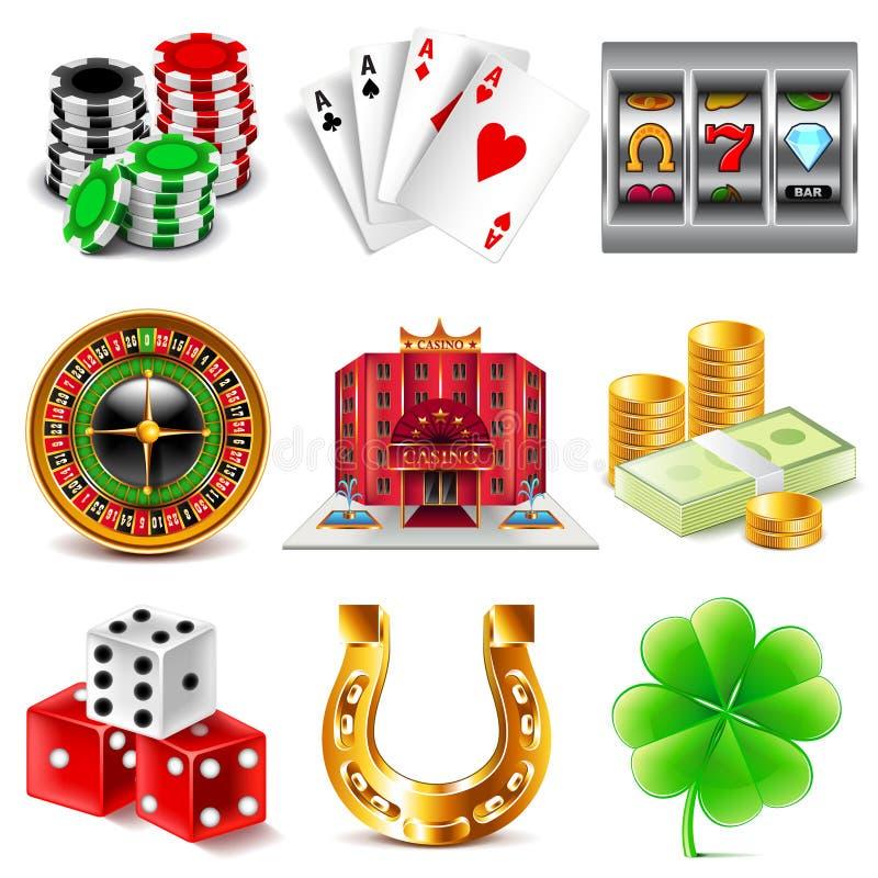 Казино и играя в азартные игры комплект вектора значков иллюстрация штока