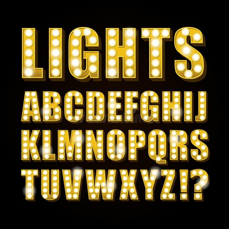 Казино или театр выставки шрифта писем неоновой лампы вектора желтые иллюстрация вектора
