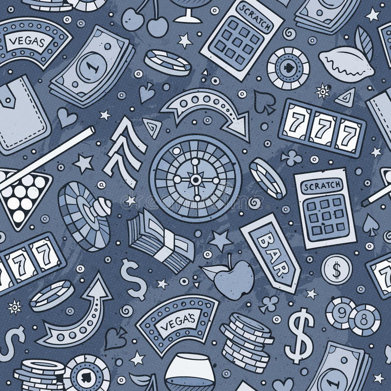 Казино шаржа нарисованное вручную, картина игр безшовная иллюстрация штока