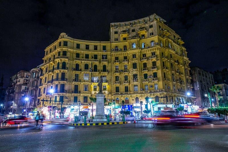18/11/2018 Каиров, Египет, одна из центральной площади столицы африканского государства вечером стоковые изображения