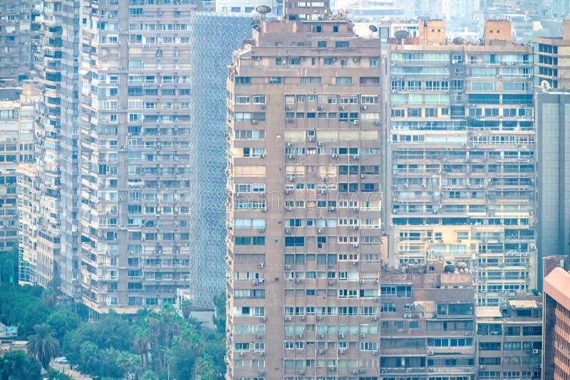 11/18/2018 Каиров, Египет, панорамный вид централи и части дела города от смотровой площадки на самом высоком towe стоковые фотографии rf