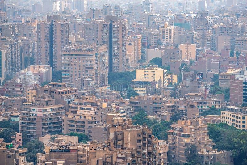 11/18/2018 Каиров, Египет, панорамный вид централи и части дела города от смотровой площадки на самом высоком towe стоковое фото