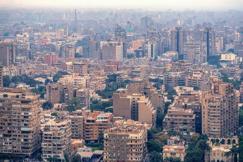 11/18/2018 Каиров, Египет, панорамный вид централи и части дела города от смотровой площадки на самом высоком towe стоковая фотография rf