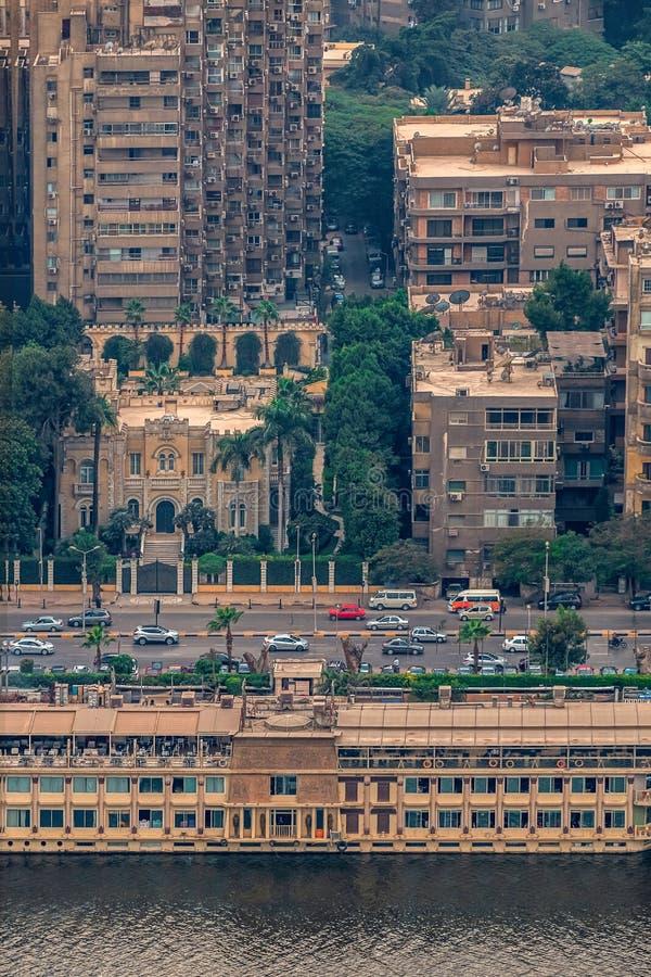 11/18/2018 Каиров, Египет, панорамный вид централи и части дела города от смотровой площадки на самом высоком towe стоковое фото rf
