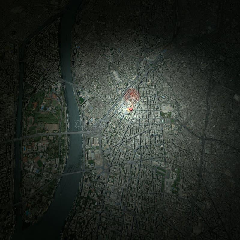 Каир Египет, спутниковый взгляд, иллюстрация вектора