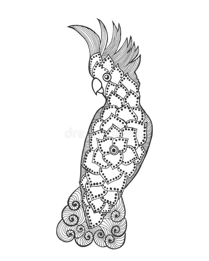 Какаду Zentangle стилизованный иллюстрация вектора