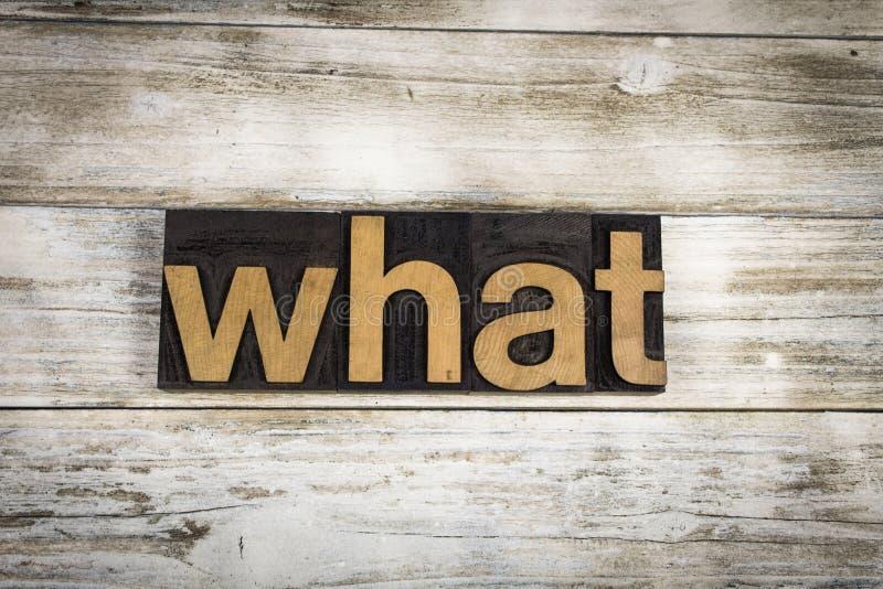 Какое слово Letterpress на деревянной предпосылке стоковое изображение