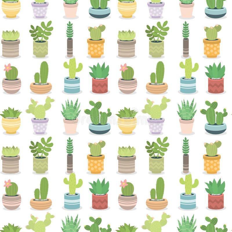 Кактусы природы зеленого растения кактуса cactaceous домашние vector иллюстрация дерева с предпосылкой картины цветка безшовной иллюстрация штока