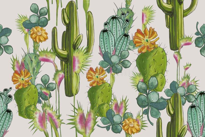 Кактусы ` пустыни акварели установленные делают по образцу ` для постельных принадлежностей на белой предпосылке иллюстрация штока