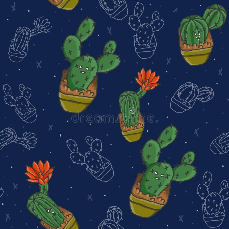 Кактусы patern на голубом растре предпосылки бесплатная иллюстрация