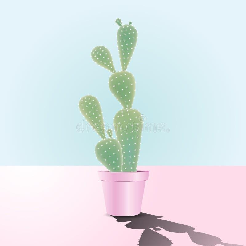 Кактус в розовом керамическом баке бесплатная иллюстрация