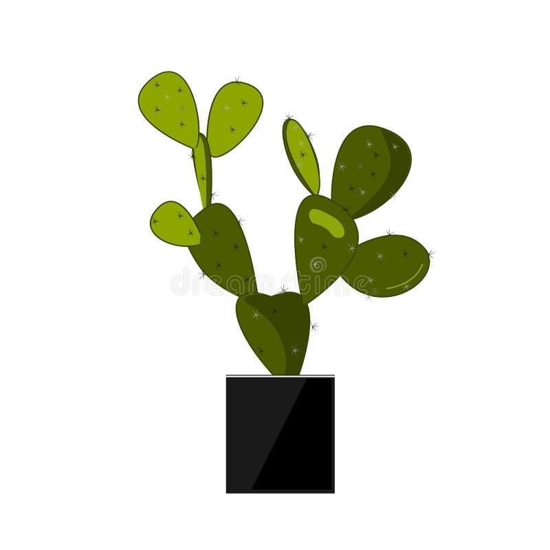 Кактус шиповатой груши в баке, традиционном мексиканском заводе Иллюстрация вектора кактуса плоская на белизне Домашний цветок в  бесплатная иллюстрация