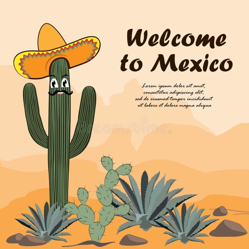 Кактус Saguaro в sombrero Добро пожаловать к мексиканськой карточке Кактус, opuntia, и столетник в пустыне также вектор иллюстрац бесплатная иллюстрация