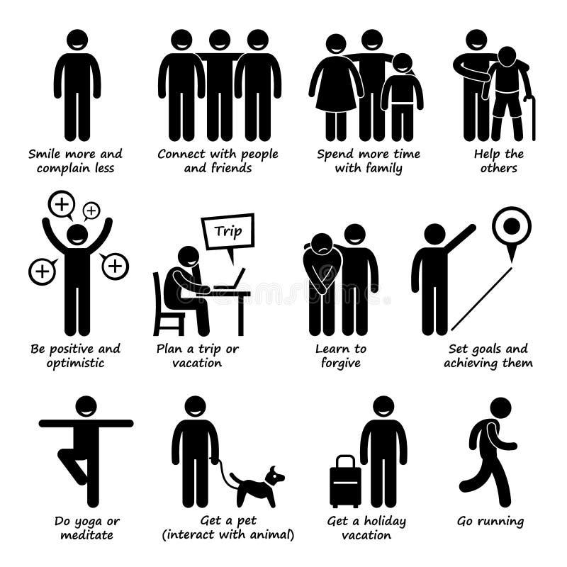 Как быть более счастливой персоной Cliparts иллюстрация штока