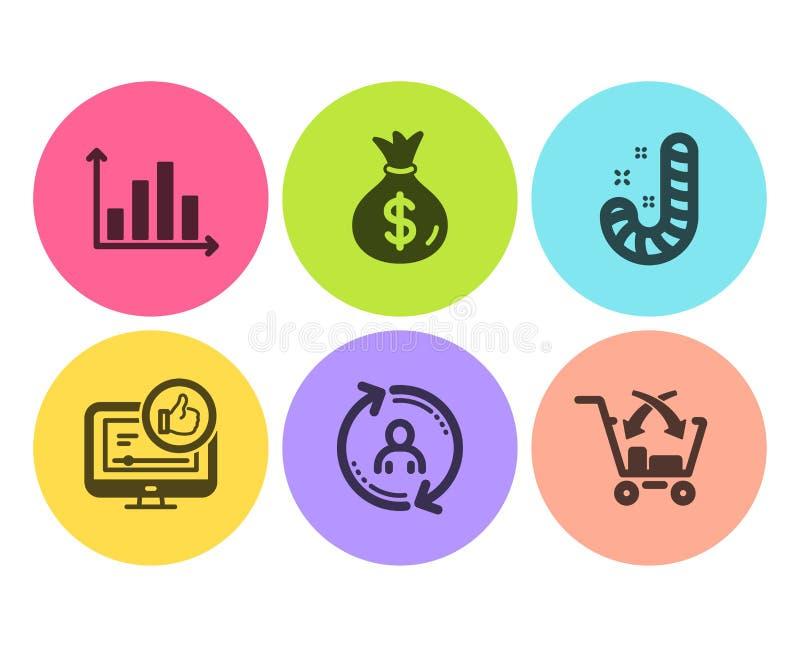 Как видео, сумка денег и диаграмма диаграммы набор значков Информация о пользователе, конфета и перекрестные знаки надувательства иллюстрация штока