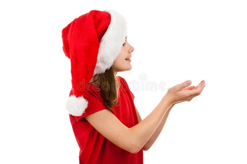 как девушка santa claus стоковая фотография rf