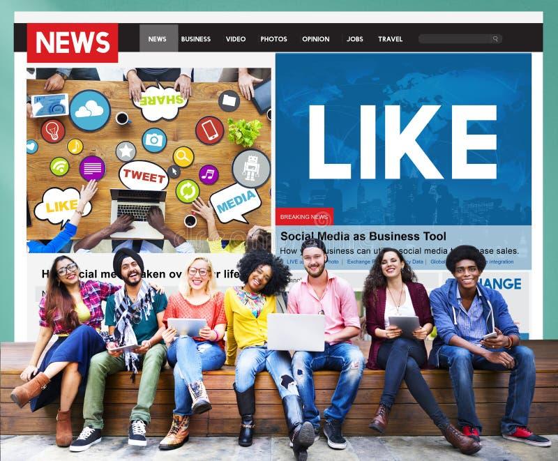 Как концепция ленты новостей средств массовой информации доли социальная стоковое изображение
