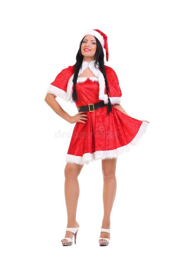 как красивейшая одетьнная девушка santa стоковые изображения rf