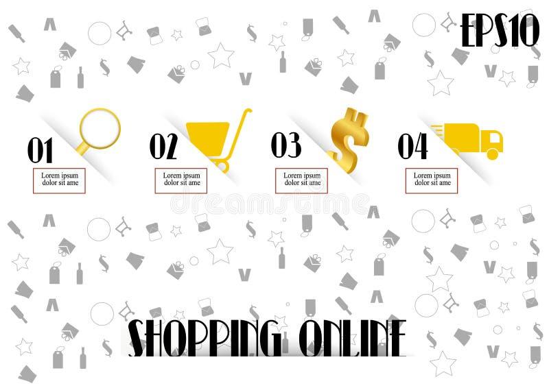 Как к ходить по магазинам на линии шаблоне с значком иллюстрация штока
