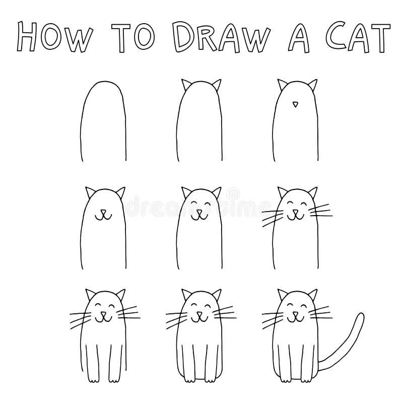 Как нарисовать кота иллюстрация штока