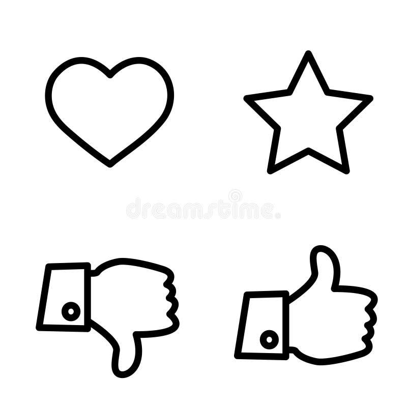 Как, нелюбовь, голосовать и оценка, набор значка вектора, рука с большим пальцем руки квартира символа вверх и вниз, звезды и сер бесплатная иллюстрация