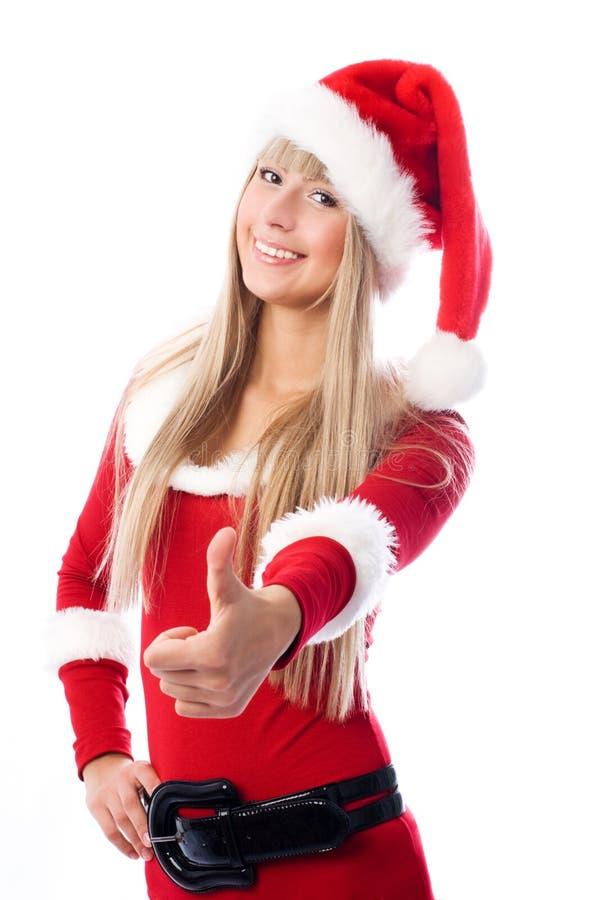 Download как одетьнная девушка ее большой пец руки Santa вверх Стоковое Фото - изображение насчитывающей изолировано, цвет: 6859984