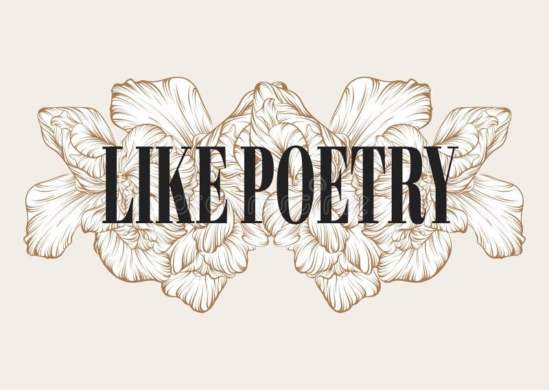 Как поэзия Иллюстрация руки вектора вычерченная изолированных цветков иллюстрация вектора
