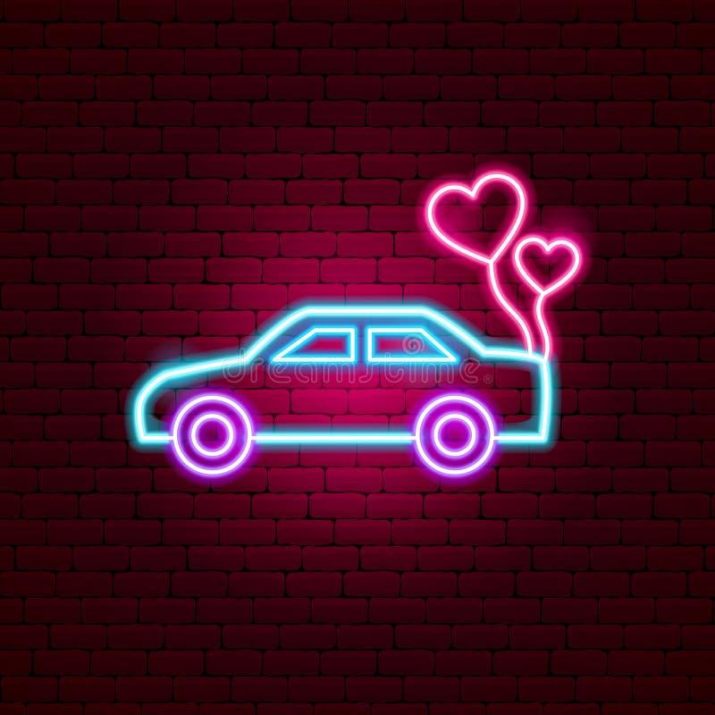 Как раз женатая неоновая вывеска автомобиля бесплатная иллюстрация