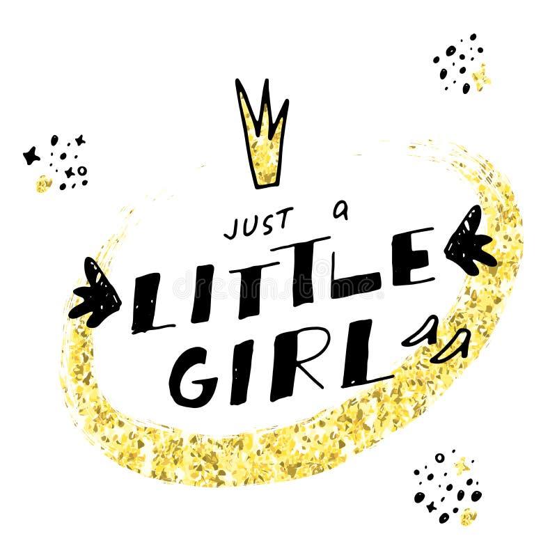 Как раз маленькая девочка Вручите вычерченную литерность с кроной шаржа, ботинками и золотой текстурой яркого блеска иллюстрация штока