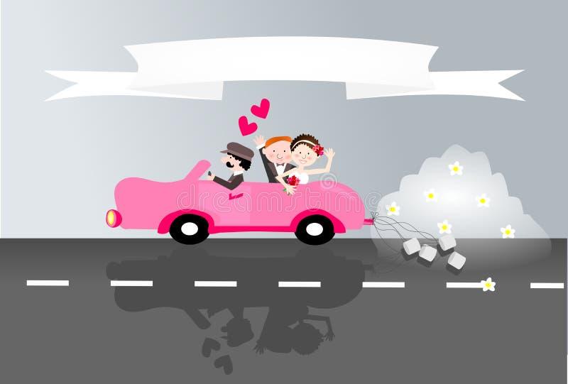 Как раз пожененные пары в автомобиле бесплатная иллюстрация