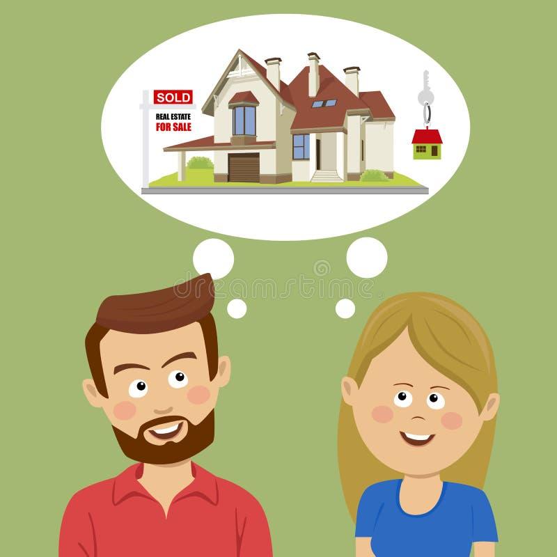 Как раз пожененные пары мечтая о новом доме Концепция реального состояния для продажи иллюстрация штока